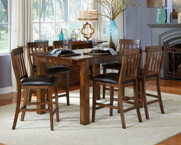 Picture of Mariposa Rustic Whiskey Counter 6-Stool Set