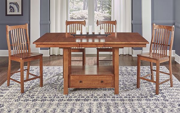 Picture of Laurelhurst Mission 4-Stool Counter Set