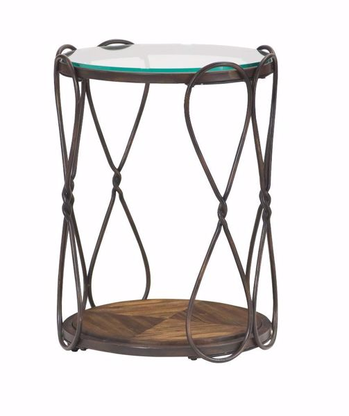 Picture of Hidden Treasures Round Glass Top End Table
